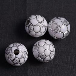 10 Perles Blanc 10mm acrylique Ballon de foot MC0110026
