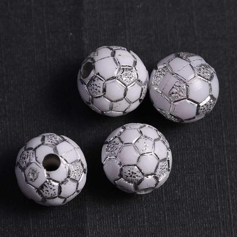 10 Perles Blanc 10mm acrylique Ballon de foot