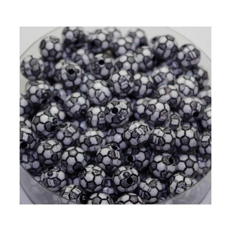 10 Perles Noir 10mm acrylique Ballon de foot