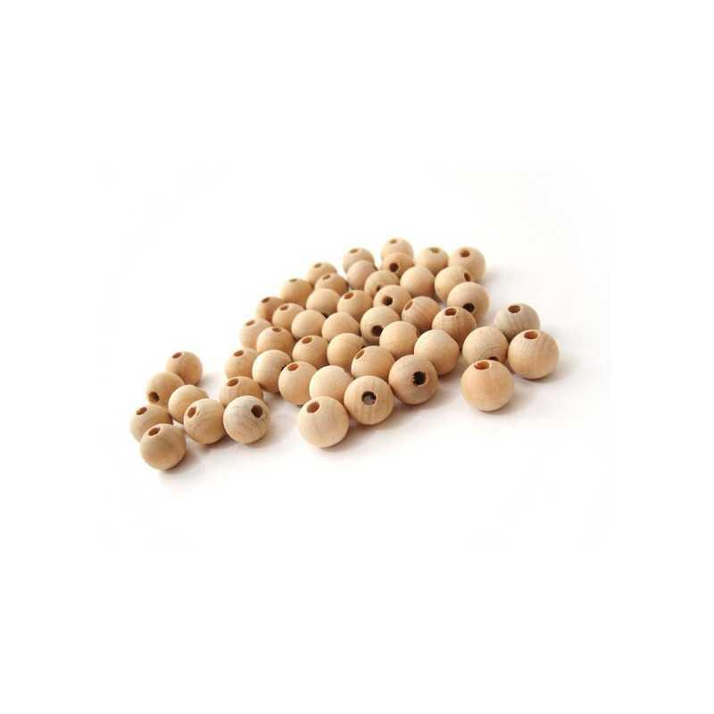 5 - 10 - 20 Perles en Bois 10mm Naturel