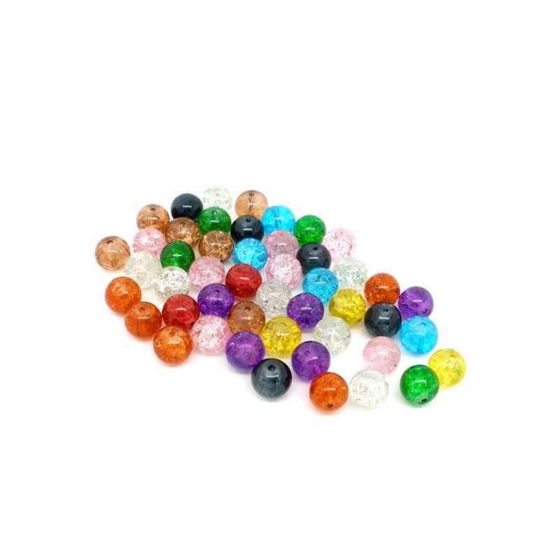10 Perles en Verre Craquelé Fissuré 10mm