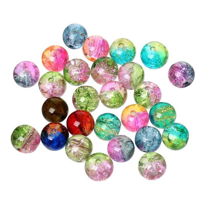 20 Perles en Verre Craquelé Mixte deux couleur 8mm