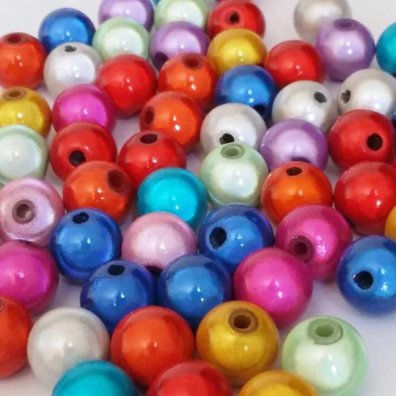 20 Perles 8mm Mixte Miracle Magique Effet Oeil De Poisson