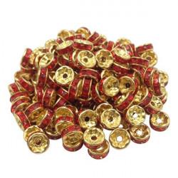 20 Perles Rondelle strass Doré 8mm Couleur Rouge MC0108022