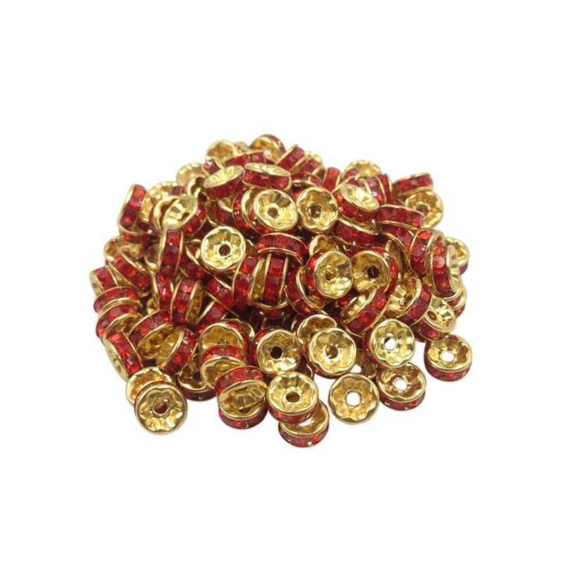 20 Perles Rondelle strass Doré 8mm Couleur Rouge