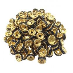 20 Perles Rondelle strass Doré 8mm Couleur Noir MC0108023