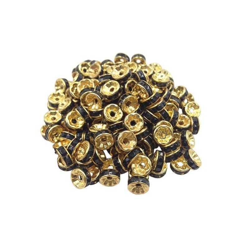 20 Perles Rondelle strass Doré 8mm Couleur Noir