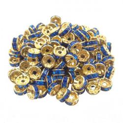 20 Perles Rondelle strass Doré 8mm Couleur Bleu MC0108024