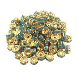 20 Perles Rondelle strass Doré 8mm Couleur Turquoise MC0108025