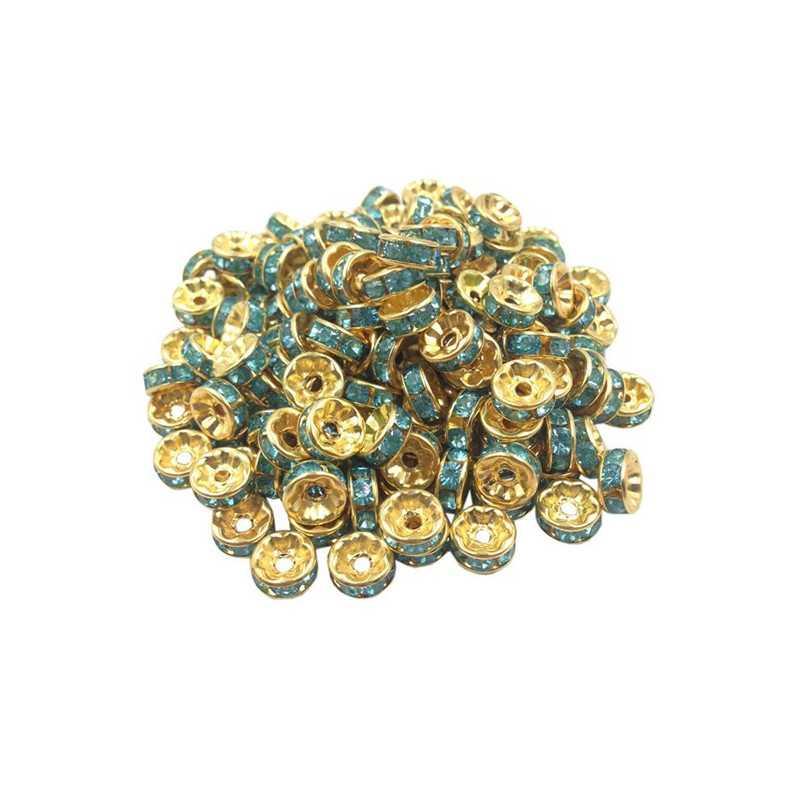 20 Perles Rondelle strass Doré 8mm Couleur Turquoise