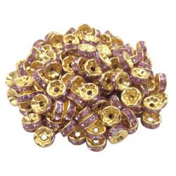 20 Perles Rondelle strass Doré 8mm Couleur Parme MC0108026