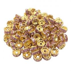 20 Perles Rondelle strass Doré 8mm Couleur Rose MC0108027