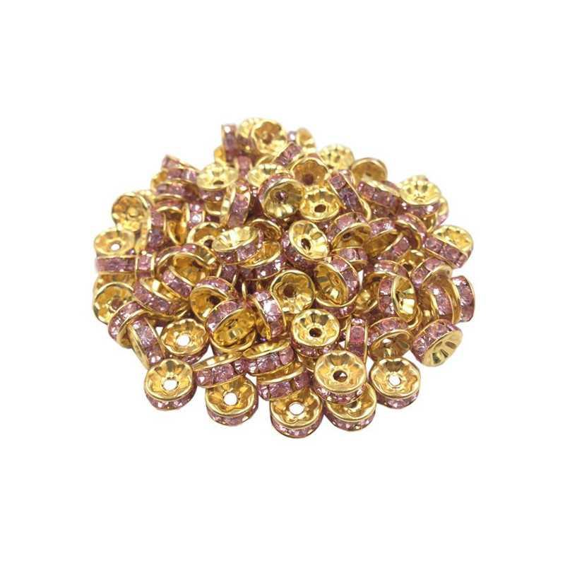 20 Perles Rondelle strass Doré 8mm Couleur Rose
