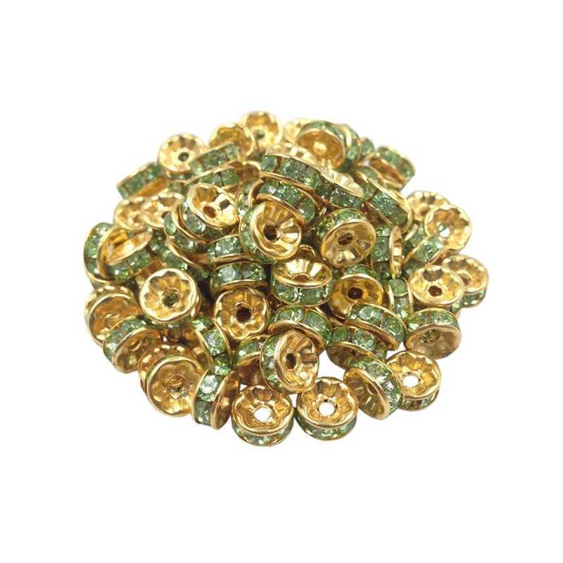 20 Perles Rondelle strass Doré 8mm Couleur Vert