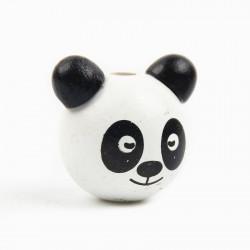 Perle en Bois 3D Tete Panda Blanc 25mm MC0700116