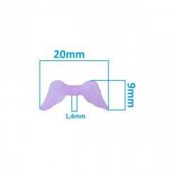 10 Perles en Acrylique 20mm Aile d'Ange Couleur Violet Givré MC0400040