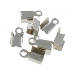 50 Embouts Cache Noeuds A Ecraser Metal Argenté Mat 9mm x 4mm MC0800033