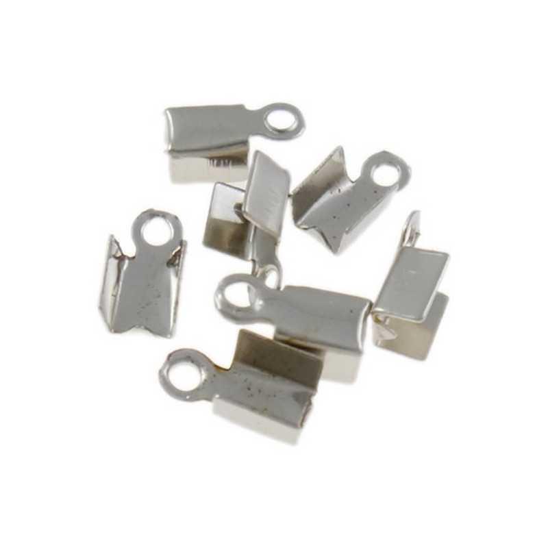 50 Embouts Cache Noeuds A Ecraser Metal Argenté Mat 9mm x 4mm