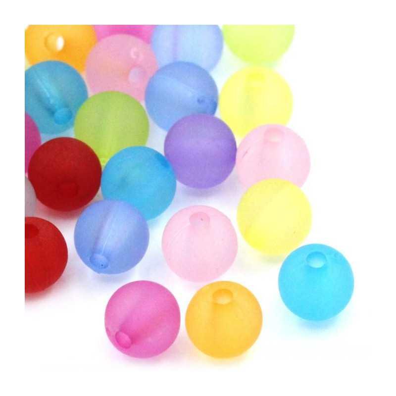 30 Perles en Resine 6mm Couleur Mixte Mat Transparent