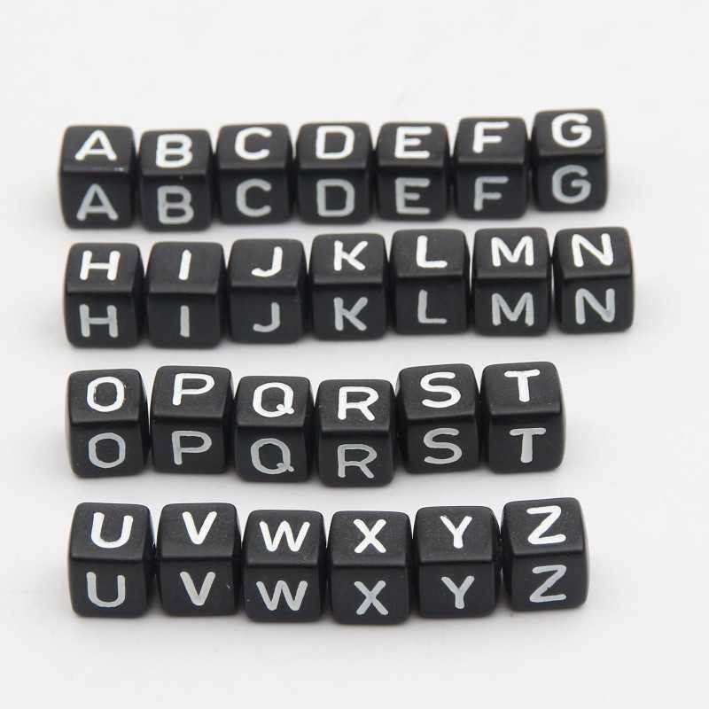 20 Perles Noir Acrylique Lettre Alphabet 10mm