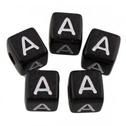 20 Perles Noir Acrylique Lettre Alphabet 10mm MC0110181F