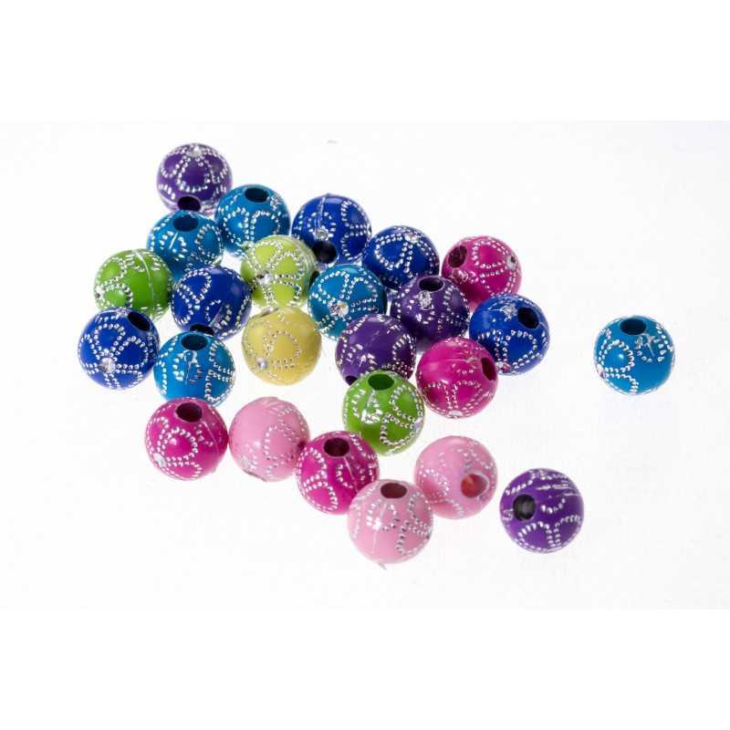 10 Perles en Acrylique Fleur 10mm Couleur Mixte