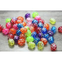20 Perles Acrylique Ovale 10mm x 8mm Mixte Fleur Argente MC0110031