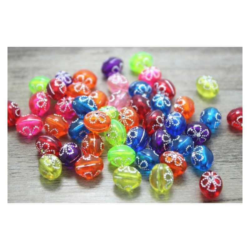 20 Perles Acrylique Ovale 10mm x 8mm Mixte Fleur Argente