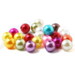 10 Perles Acrylique 10mm Imitation Brillante Couleur Mixte MC0110034