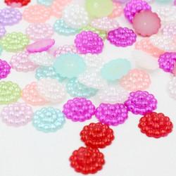 20 Demi Perles Fleur A Coller 10mm Couleur Mixte MC0110079