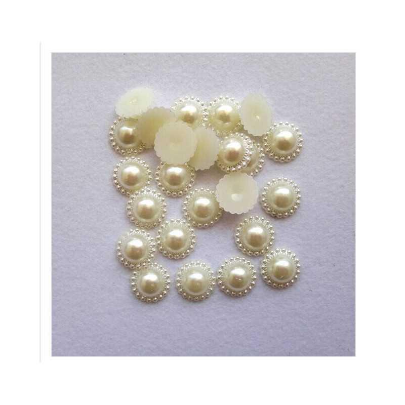 20 Demi Perles Fleur A Coller 10mm Couleur Blanc Cassé