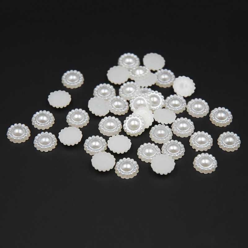 20 Demi Perles Fleur A Coller 10mm Couleur Blanc