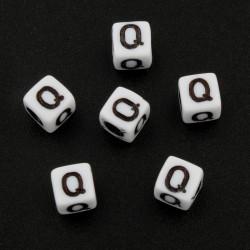 Lot de 50 Perles Alphabet 6mm Lettre au choix