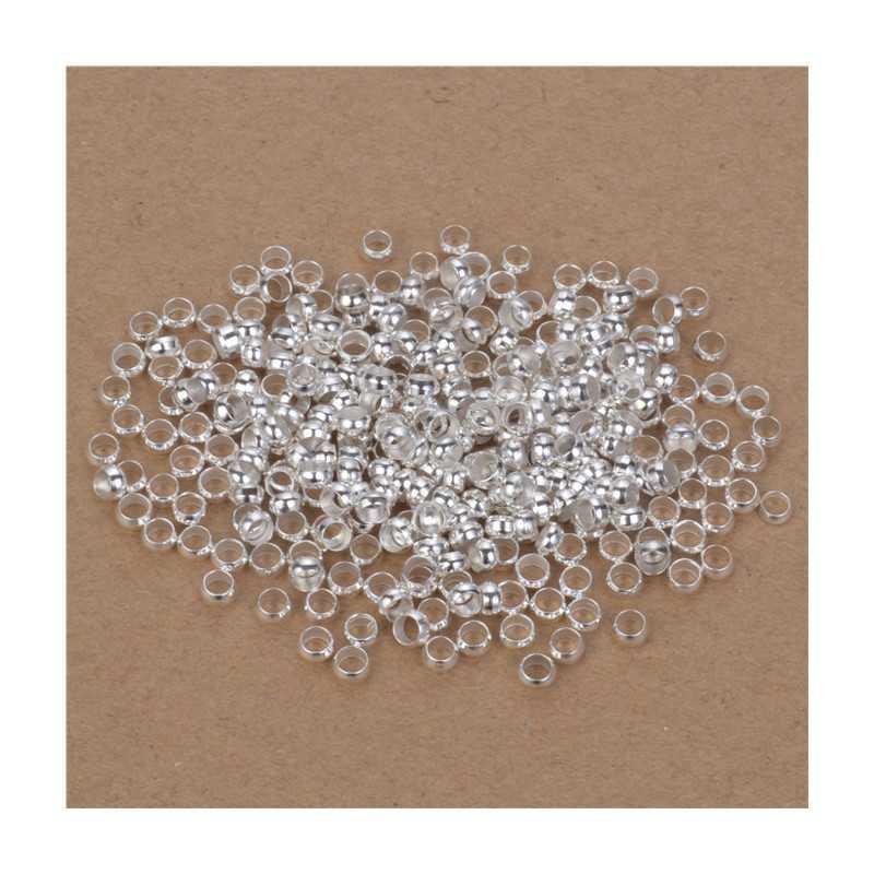 Lot de Perles à Écraser 3mm Argenté