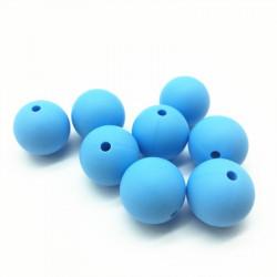 10 Perle 9,5mm Silicone Couleur Bleu MC0110301