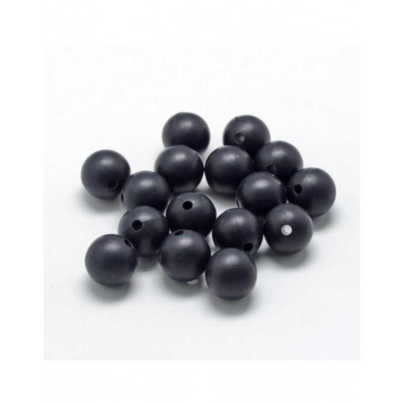 10 Perle 9,5mm Silicone Couleur Noir