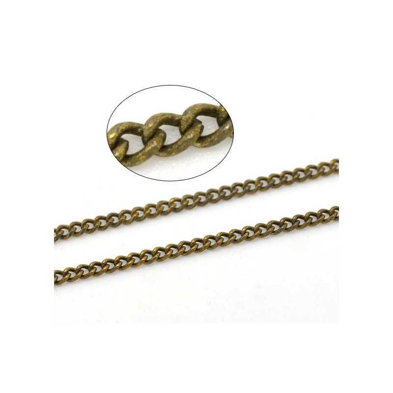 Chaine Bronze 1,8mm x 1,3mm Petite Maillon, Maille Cheval Soudée