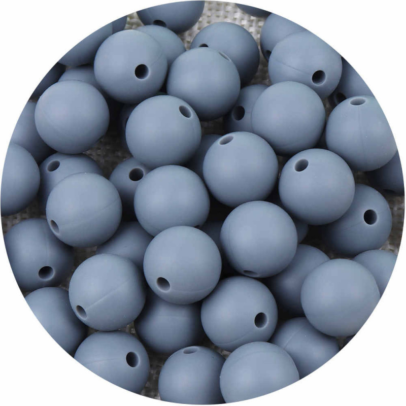 10 Perle 10mm Silicone Couleur Gris
