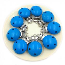 Clip Pince Attache Tetine Bleu en Bois Rond 3cm MC2030504