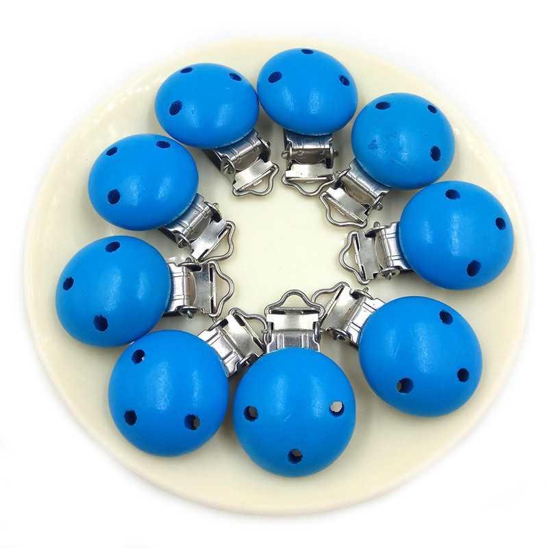 Clip Pince Attache Tetine Bleu en Bois Rond 3cm