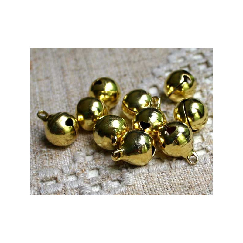10 Cloche 11mm x 8mm Grelots Metal Doré Clochette Jingle Bell
