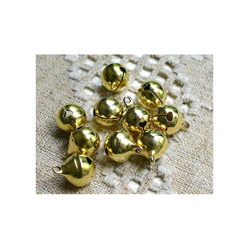 20 Cloche 11mm x 8mm Grelots Metal Doré Clochette Jingle Bell