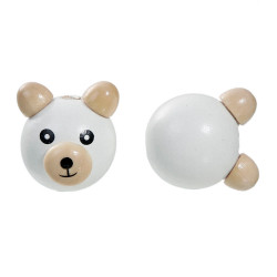 Perle 3D Ourson Blanc 25mm Tete Ours MC0700100