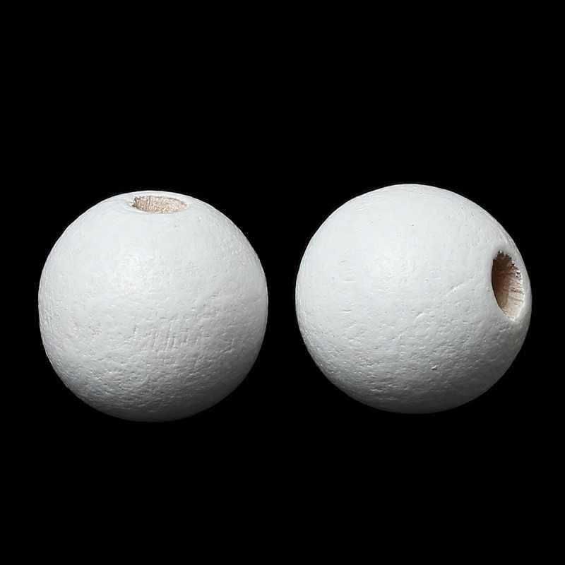 20 Perles en Bois 10mm Blanc