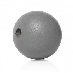 20 Perles en Bois 10mm Gris MC0110321