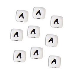 Perles Silicone Lettre Alphabet 10mm Blanc