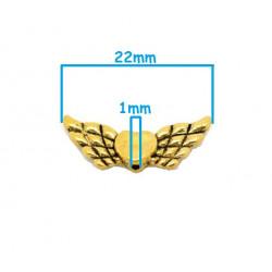 5 Perles en Metal 22mm x 9mm Aile d'Ange Couleur Doré MC0400061