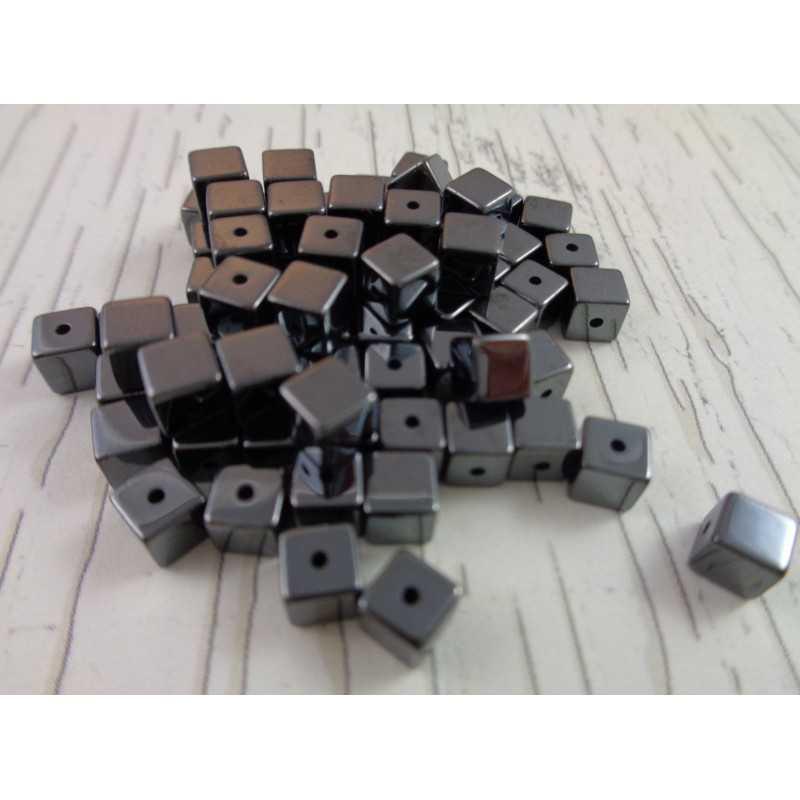 20 Perle Noir Cube 4mm Hematite Non-Magnetique