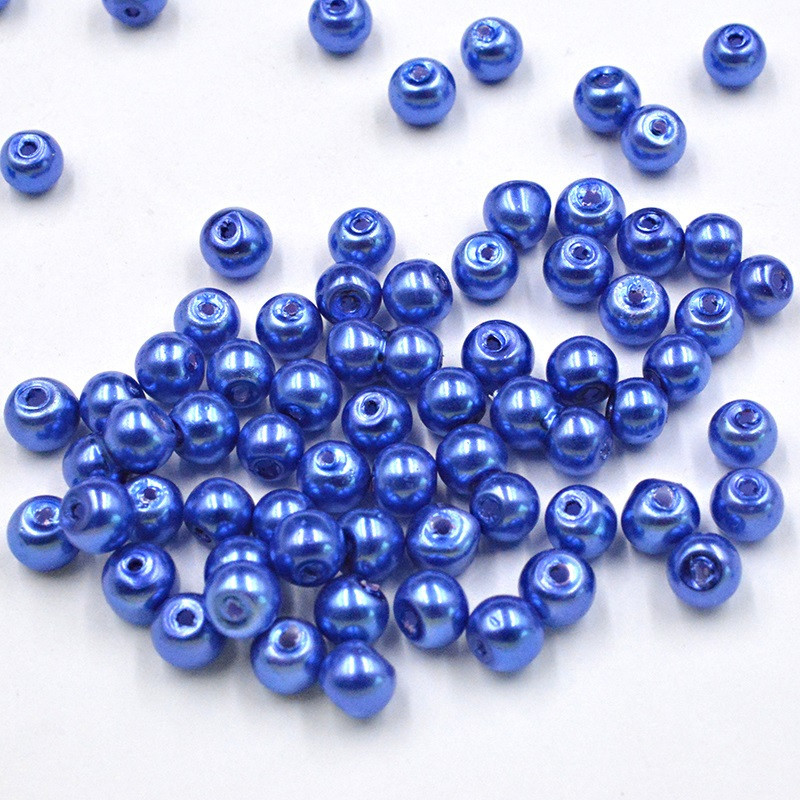 30 Perles imitation en Verre 6mm Bleu Foncé Brillant