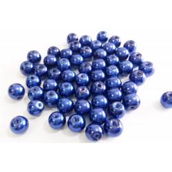 30 Perles imitation en Verre 6mm Bleu Foncé Brillant MC0106027